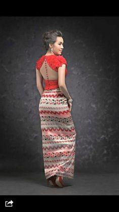Red Myanmar dress