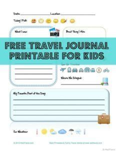 Capture memories and teach kids the joy of journaling with these free travel journal printable for kids.