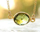 Gold Green Peridot Quartz Necklace - August Birthstone Necklace, August Birthdays - 14KT Gold Fill