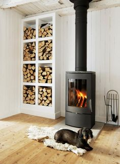stacks of firewood in modern white shelves 10 Rustic Design Details Anyone Could Add to Home Estilo Interior, Firewood Storage, Firewood Holder, Stove Fireplace, Basement Fireplace, Cozy Fireplace, Wood Burner, Rustic Design, My Dream Home