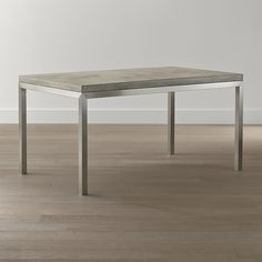 "C&B: Concrete Top/ Stainless Steel Base 60x36 Parsons Dining Table ($1,229) 60""Wx36""Dx30.5""H"
