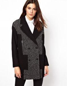 Contrast Tweed Coat