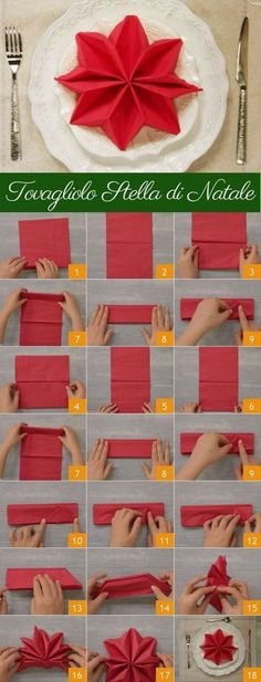 ideas DIY Christmas table decorations ideas napkin folds for 2019 (no title) Christmas napkins and unusual folding ideas - Christmas party - All about ChristmasFancy Christmas Napkin Folding Ideas - Christmas Party - All Christmas Napkin Folding, Christmas Tree Napkins, Christmas Table Settings, Christmas Star, Christmas Decorations, Table Decorations, Origami Christmas, Christmas Carol, Napkin Folding Flower