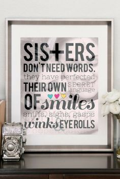 how sweet is this custom sisters photo quote for your special siblings birthday or christmas gift! this print is fully customizable and includes unlimited revision and your own photo choice!