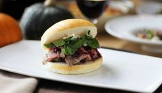Kobe Tri-Tip Sandwiches with Cabernet Braised Red Cabbage and Blue Cheese & Buttermilk Dressing, a.k.a., the Tom Young Sandwich