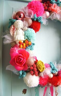 candy color wreath