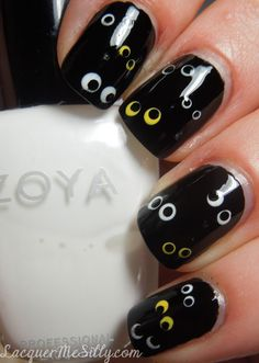 Frances T. shows off a cute and easy Halloween nail look. Use a dotting tool to get the look!