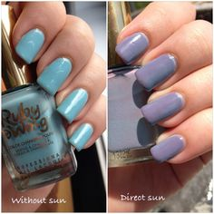 Ruby Wing nail polish in the color Moonstone, changing from blue to purple!