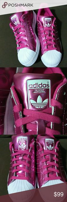 New Adidas Superstar Metallic Pink New Adidas Superstar. Rare Metallic Pink & White Shell Tops with the Original Adidas Trefoil Logo! Shell toes. Adidas Shoes