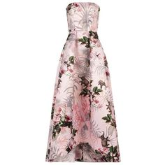 Pinko Puno Elephant Print Bandeau Gown ($675) ❤ liked on Polyvore featuring dresses, gowns, pink dress, floral evening gown, floral print dress, floral printed dress and flower print dresses