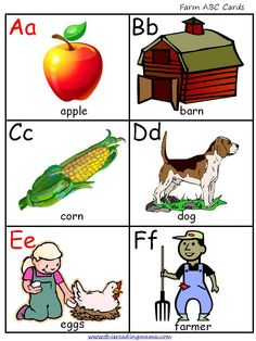 Library or Writing Center or Small Group-Free download of farm ABC cards