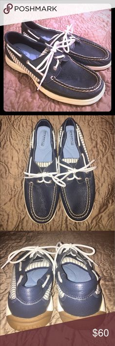 Sperry top-sider Intrepid blue leather 7.5 WORN ONCE! Adorable Sperry shoes size 7.5 navy blue leather and seer-sucker fabric on the sides Sperry Top-Sider Shoes Flats & Loafers