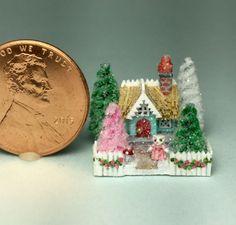 OOAK Miniature Dollhouse Christmas Putz Handcrafted Kitten Cat Cottage House