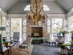 Atlanta Homes & Lifestyles' 2017 Southeastern Designer Showhouse (House of Turquoise) Up House, House With Porch, Outdoor Rooms, Outdoor Living, Outdoor Patios, Outdoor Kitchens, Outdoor Stone, Outdoor Furniture, Outdoor Decor