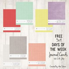 Days of the Week Journal Cards {FREE Download}