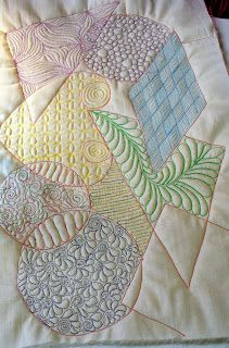 """Cindy Needham: My Designs Workshop...""""E.S.I."""" -- I love the look of the geometric shapes with unique free-motion fillers and colors."""