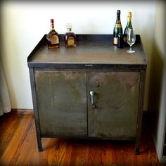 Industrial Bar Cart Cabinet Vintage Metal Army Green Furniture