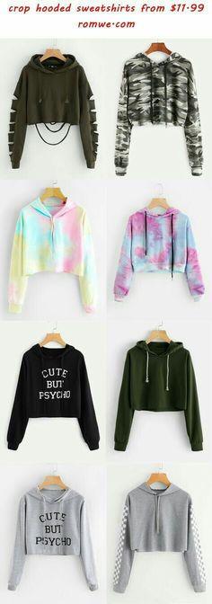 Cropped hooded sweatshirt - hooded crop sweatshirts 2018 romwe com Teen Fashion Outfits, Cute Fashion, Outfits For Teens, Summer Outfits, Fashion Clothes, Girl Fashion, 2000s Fashion, Fashion Today, Petite Fashion