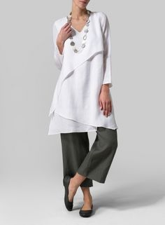MISSY Clothing - Linen Layering V-neck Tunic