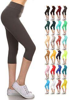 2b367e72a3955 Depot Buttery Soft Women's Yoga Gym Workout Higher Waist Solid Capri Leggings  Pants 22+ Colors