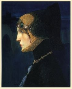 Head of Lady in Medieval Costume (1900) by Lucien Victor Guirand de Scévola (French, 1871 - 1950).