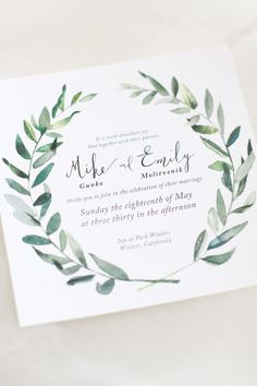 Hip Green California Wedding from Laura Nelson - wedding invitation