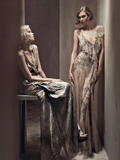 Gorgeous gowns  Donna Karan Spring 2011 Campaign | Abbey Lee Kershaw & Karlie Kloss by Patrick Demarchelier