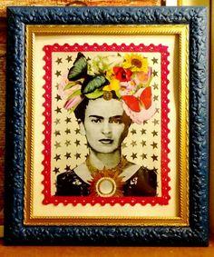 """Cuadro """" Frida bella"""", collage.  (GloriArte143)"""