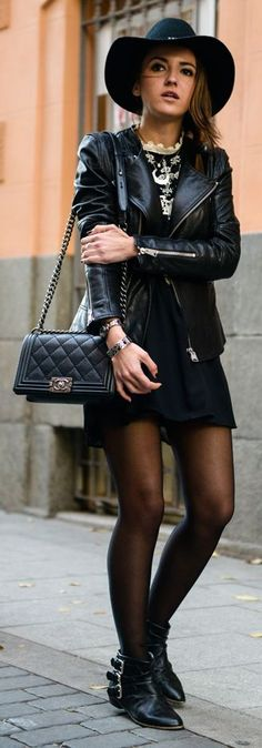 Black Leather Moto Jacket by Lovely Pepa