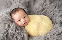 Wide awake newborn swaddled flokati boy gray and yellow | Bella Rose Portraits Newborn Photographer Newborn Photography Inspiration