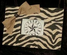 """Handmade 5"""" x 7"""" Zebra Burlap covered picture frame with burlap bow. $25. See me at Texas Tin Works on Facebook."""