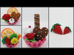 How to make a felt tartlet / cupcake - part 8- felt strawberry DIY (tutorial + free pattern) - YouTube