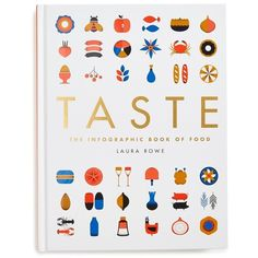 'Taste: The Infographic Book of Food' Book (422.710 IDR) ❤ liked on Polyvore featuring home, kitchen & dining, cookbooks, accessories, white and quarto