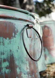 Verdigris Cooper Buckets Planters -- This site has so many cool pots and decorating ideas for inside and out