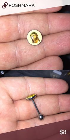 Jesus tongue ring - Brand new, never worn. - 14 gauge post. - Surgical steel metal. - Standard tongue ring post length.  **ALL BODY JEWELRY IS SANITIZED** Jewelry