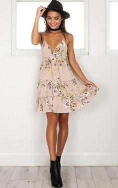 showpo, showpo dress, mocha floral dress, mocha floral, dress