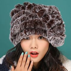(33.17$)  Watch now  - knitted rabbit fur hat thick wool lining winter women hat cat ear hat lovely snow caps bomber hats