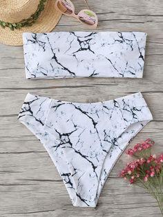 7ddffbc803a00 Marble Pattern Bandeau With High Waist Bikini. Bandeau Bikini SetBikini  SwimsuitOne Piece SwimsuitModest SwimsuitsCute ...