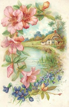Vintage postcard, cottage, pink and blue flowers Vintage Greeting Cards, Vintage Ephemera, Vintage Paper, Vintage Postcards, Art Floral, Vintage Pictures, Vintage Images, Graffiti Kunst, Cottage Art