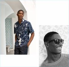 Left to Right: Hamid Onifade wears a resort shirt $24.99 with short chino shorts $19.99. The leading model also sports a linen sweater $34.99.