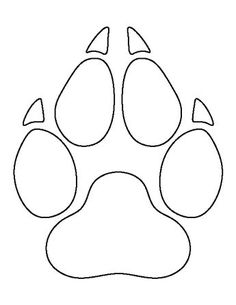 Wolf paw print pattern. Use the printable outline for crafts, creating stencils, scrapbooking, and more. Free PDF template to download and print at http://patternuniverse.com/download/wolf-paw-print-pattern/