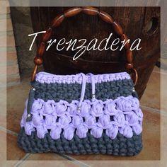 Bolso de Trapillo en gris y lila.