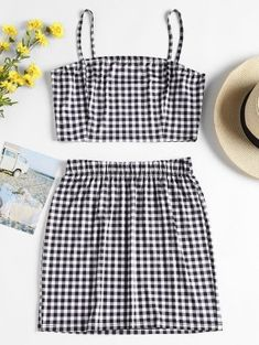 Checked Jersey Top and Skirt Two Piece Set