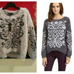 Fab Romeo and Juliette fuzzy sweater Gorgeous, cozy , soft sweater. Sold out everywhere in this taupe color. Romeo & Juliet Couture Sweaters Crew & Scoop Necks