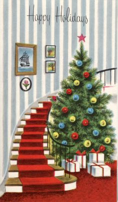 I'm a sucker for a Christmas tree by the stairs!
