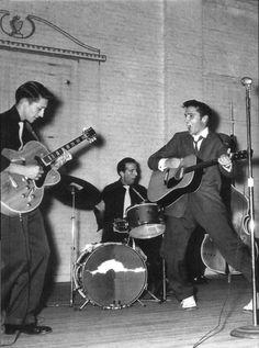 Sep. 26, 1955. Gilmer, TX. Scotty Moore, DJ Fontana, Elvis Presley and Bill Black at Gilmer Junior High.