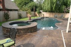 Small Backyard Free Form Pool With Jacuzzi