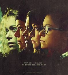 "Orphan Black Fan Art Friday. ""Just one. I'm a few. No family too. Who am I?"""