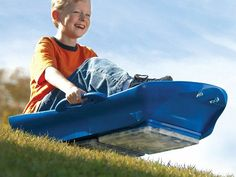 This all season sled, discovered by The Grommet, lets you race down the slopes whether they're covered in snow or not.