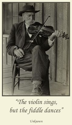 Picture of an Appalachia Man playing his Fiddle. Fiddle is a instrument used on appalachia music. It is very similar to a violin the main difference is the way that the musician plays it. It is a strong symbol of the appalachian music and culture.